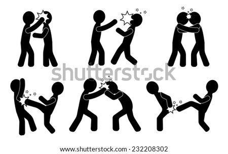 Fight. Human silhouettes fighting - stock vector