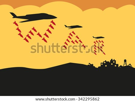Fighter Planes Drop Bombs in a War Text formation. Editable Clip Art. - stock vector