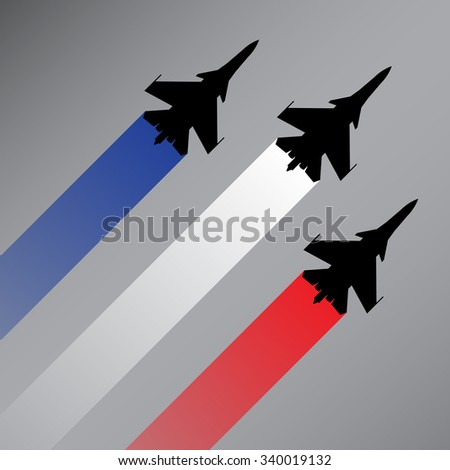 Fighter planes with the flag of France vector - stock vector
