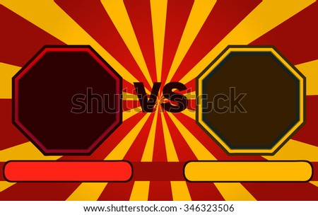 Fighter Versus Screen with Blank Octagonal Frames, Vector Illustration.
