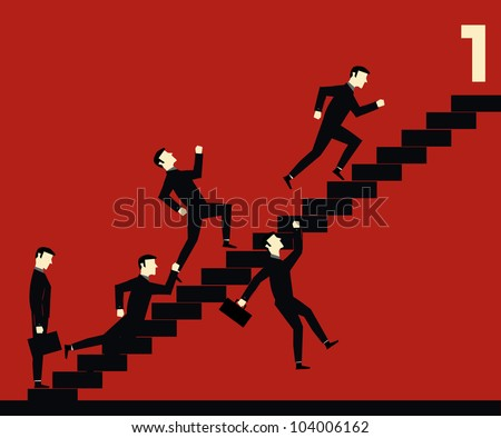Fighting Businessman Stair One - stock vector