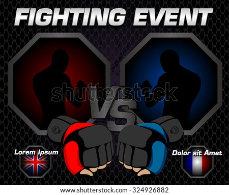 Fighting event poster - stock vector