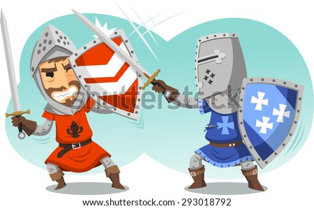 Fighting Knights With Swords Shield Helmet Army Uniform, vector illustration cartoon. - stock vector