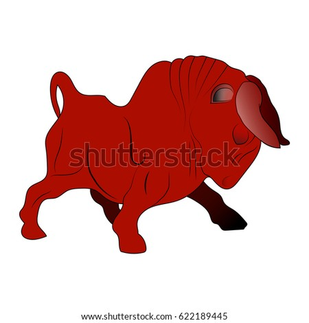 fighting red bull animal symbol angry stock vector royalty free