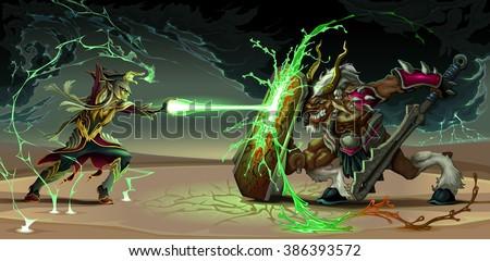 Fighting scene between elf and beast. Fantasy vector illustration - stock vector