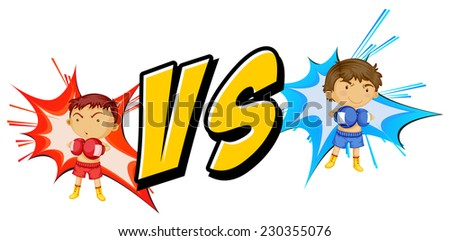 Fighting themed text with young boys - stock vector