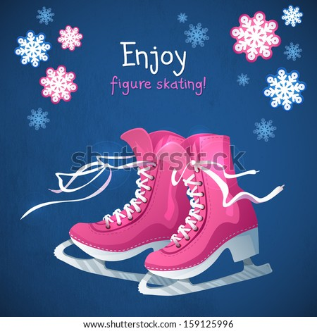 Figure female skating . Winter sport decorative vector  illustration in cartoon style. Original card with concept of winter sport and recreation  - stock vector