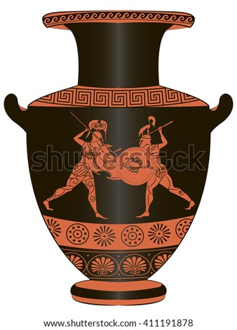 Figure Greek Vases Painting Battle Stock Vector Royalty Free