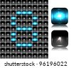 Figure made of flash lights; vector illustration; eps10; 4 named layers, easy editable! BONUS!!! Seamless background (black buttons) and two buttons-spotlights with reflection!!! - stock vector