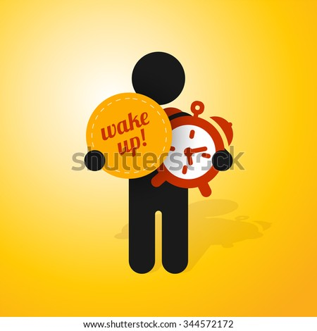 figure man holds alarm clock and sign wake up - stock vector