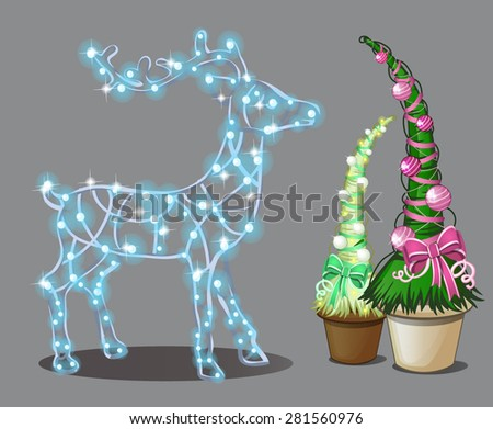figure of a deer from garlands and two associated trees - stock vector