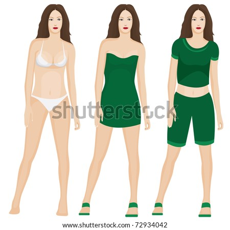 Figure of a woman with different clothes