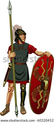 figure of Roman legionary - stock vector