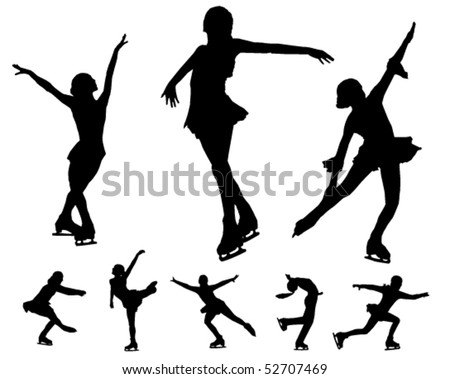 Figure skating vectors - stock vector