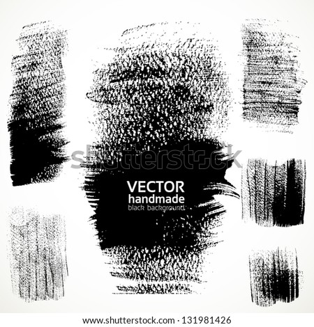Figured textured brush strokes brush and ink - stock vector