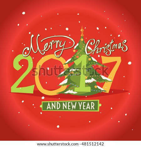 Figures 2017 and the words Merry Christmas on a red background. Vector illustration of gifts. New year.