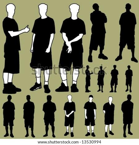 figures in shorts - stock vector
