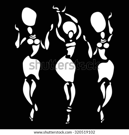 Figures of african dancers. Beautiful women. Dancing woman in ethnic style. Vector Illustration. - stock vector