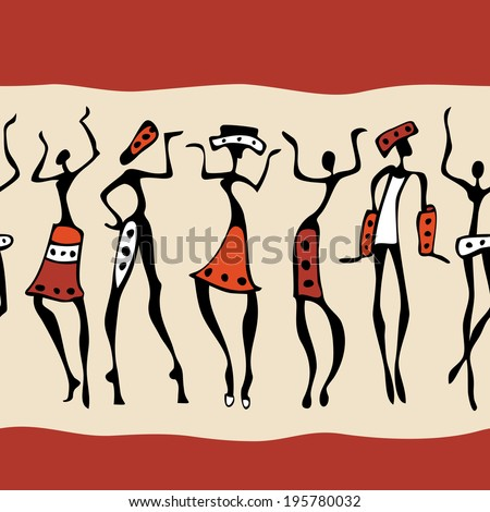 Figures of African dancers. Seamless Vector  Illustration. - stock vector