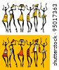 Figures of african dancers  set. Vector  Illustration. - stock photo