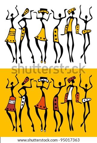 Figures of african dancers  set. Vector  Illustration. - stock vector