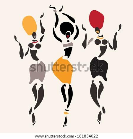 Figures of african dancers. Vector  Illustration. - stock vector
