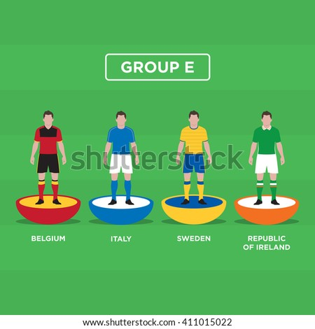 Figurine Football (Soccer), group E. Editable vector design.  - stock vector