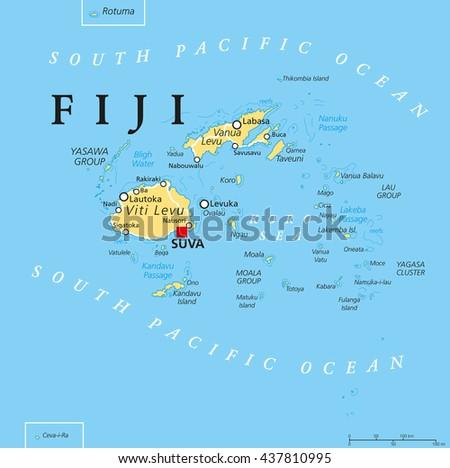 Fiji Political Map Capital Suva Islands Stock Vector - Fiji islands map