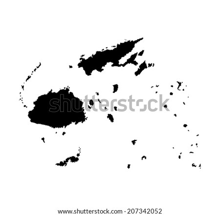 Fiji vector map isolated on white background silhouette. High detailed illustration. - stock vector
