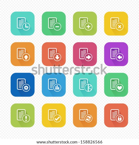 File Document Flat Icons with Long Shadow - Vector illustration - stock vector