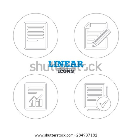 File document icons. Document with chart or graph symbol. Edit content with pencil sign. Select file with checkbox. Linear outline web icons. Vector - stock vector