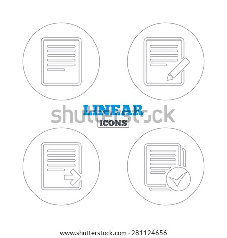 File document icons. Download file symbol. Edit content with pencil sign. Select file with check box. Linear outline web icons. Vector - stock vector