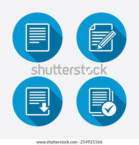 File document icons. Download file symbol. Edit content with pencil sign. Select file with checkbox. Circle concept web buttons. Vector - stock vector