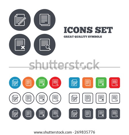 File document icons. Search or find symbol. Edit content with pencil sign. Remove or delete file. Web buttons set. Circles and squares templates. Vector - stock vector