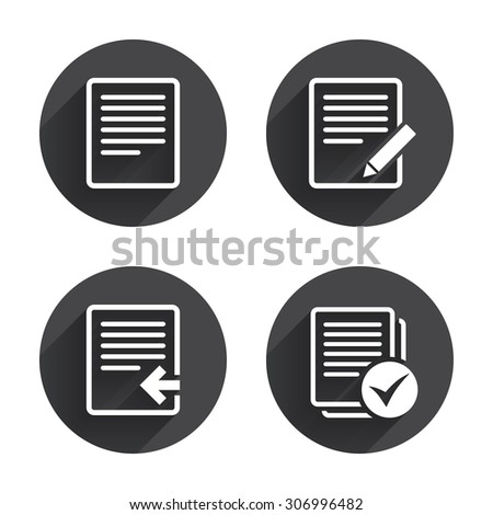 File document icons. Upload file symbol. Edit content with pencil sign. Select file with checkbox. Circles buttons with long flat shadow. Vector - stock vector
