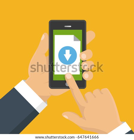 File download concept button on smartphone screen. Hand holds smartphone. Downloading document, infographics. Flat design