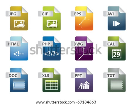 File extension icons - stock vector