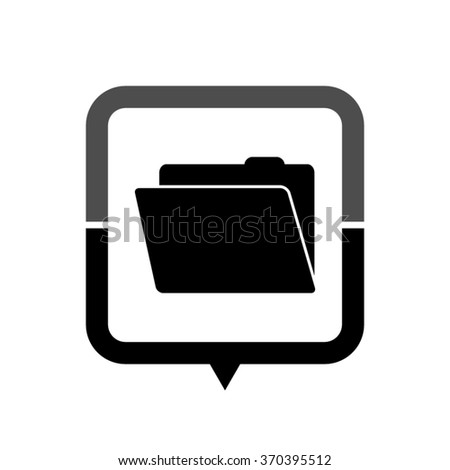 File Folder - black vector icon; map pointer;  message bubble - stock vector