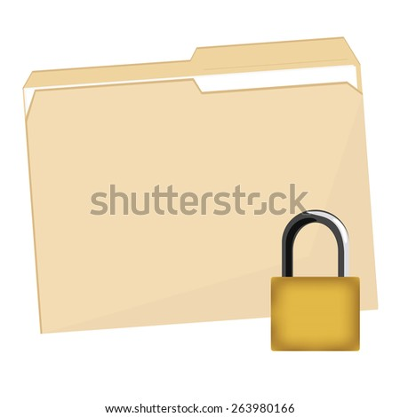 File folder vector icon and lock security icon, closed file folder, protection - stock vector