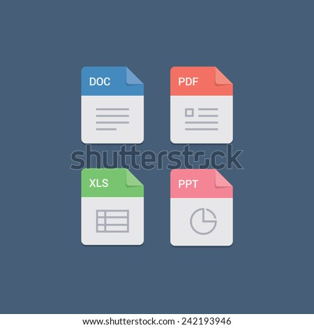 File format flat icon set - stock vector
