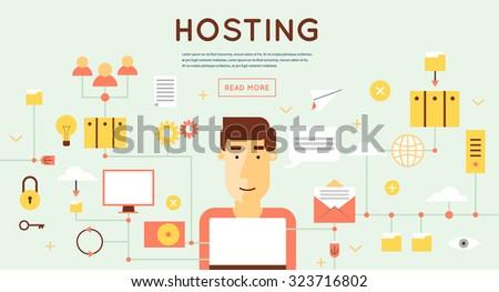 File hosting, database server, data exchange, digital data center, file storage, file protection. Flat design.  - stock vector