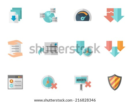 File hosting icons in flat color style - stock vector