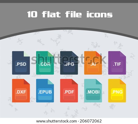 File Icon Set - Colorful Flat Design easy to edit - stock vector