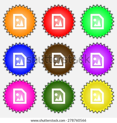File JPG  icon sign. A set of nine different colored labels. Vector illustration - stock vector