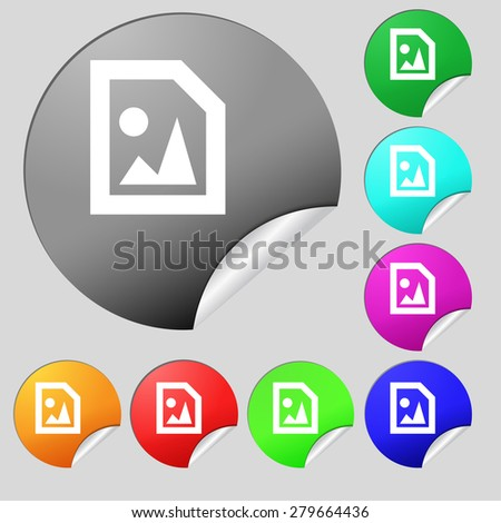 File JPG  icon sign. Set of eight multi-colored round buttons, stickers. Vector illustration - stock vector