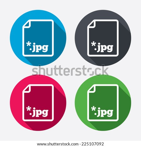 File JPG sign icon. Download image file symbol. Circle buttons with long shadow. 4 icons set. Vector - stock vector