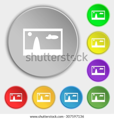 File JPG sign icon. Download image file symbol. Symbols on eight flat buttons. Vector illustration - stock vector