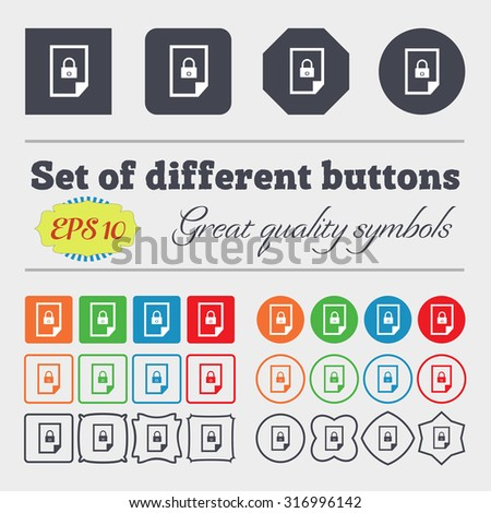 File locked icon sign. Big set of colorful, diverse, high-quality buttons. Vector illustration - stock vector