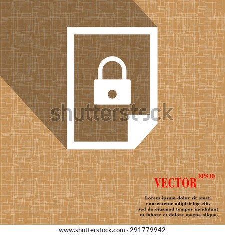 file locked icon symbol on abstract geometric background with long shadows. Vector illustration - stock vector