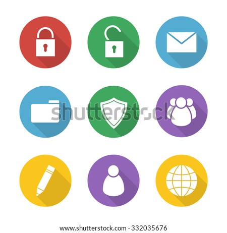 File manager flat design icons set. Data storage interface buttons. Server ui round long shadow symbols. Lock and unlock white silhouette illustrations on color circles. Vector infographics elements - stock vector